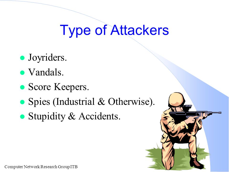 Computer Network Research Group ITB Type of Attackers l Joyriders.