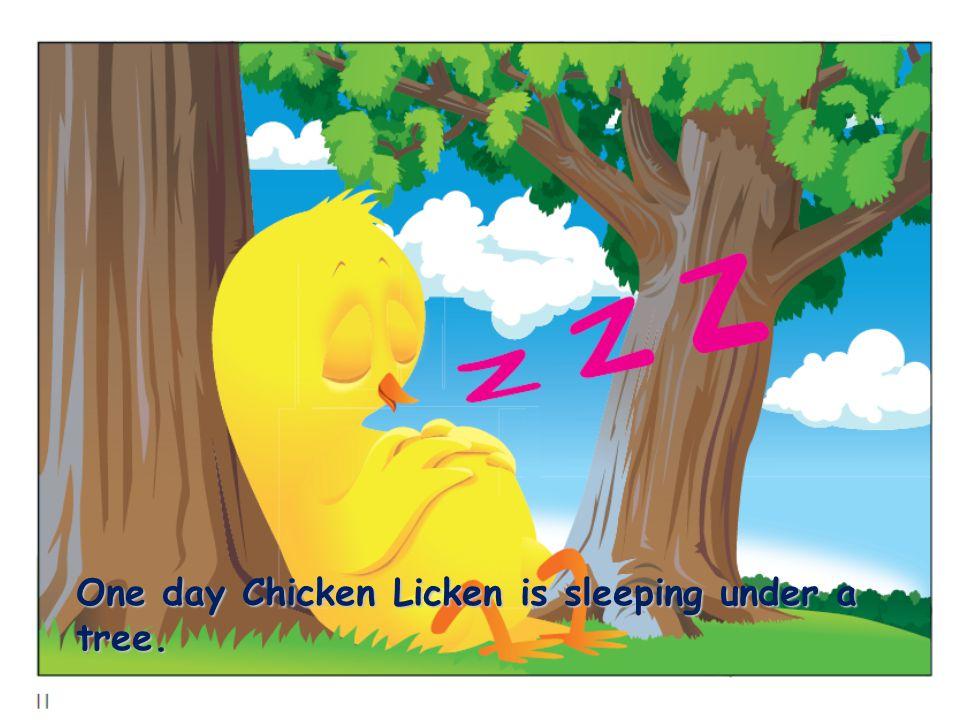 One day Chicken Licken is sleeping under a tree.