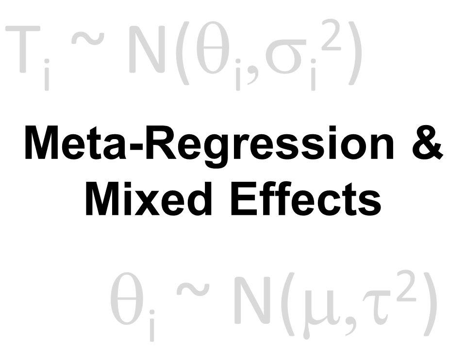 Meta-Regression & Mixed Effects T i ~ N(  i  i 2 )  i ~ N(  2 )