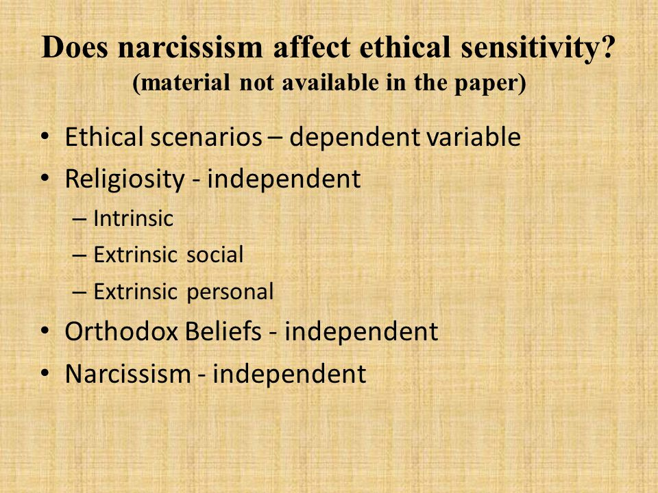 Does narcissism affect ethical sensitivity.