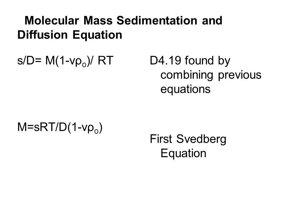 Molecular Mass Sedimentation and Diffusion Equation s/D= M(1-vρ o )/ RT M=sRT/D(1-vρ o ) D4.19 found by combining previous equations First Svedberg Eq