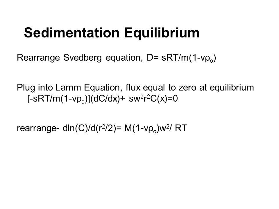 Sedimentation Equilibrium Rearrange Svedberg equation, D= sRT/m(1-vρ o ) Plug into Lamm Equation, flux equal to zero at equilibrium [-sRT/m(1-vρ o )](
