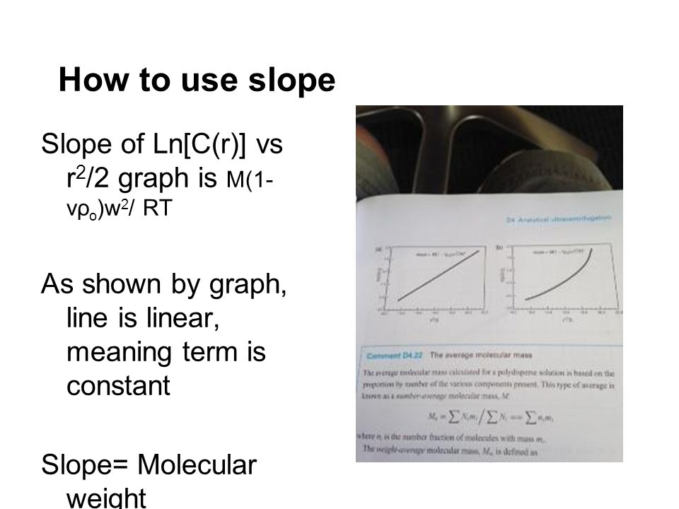How to use slope Slope of Ln[C(r)] vs r 2 /2 graph is M(1- vρ o )w 2 / RT As shown by graph, line is linear, meaning term is constant Slope= Molecular