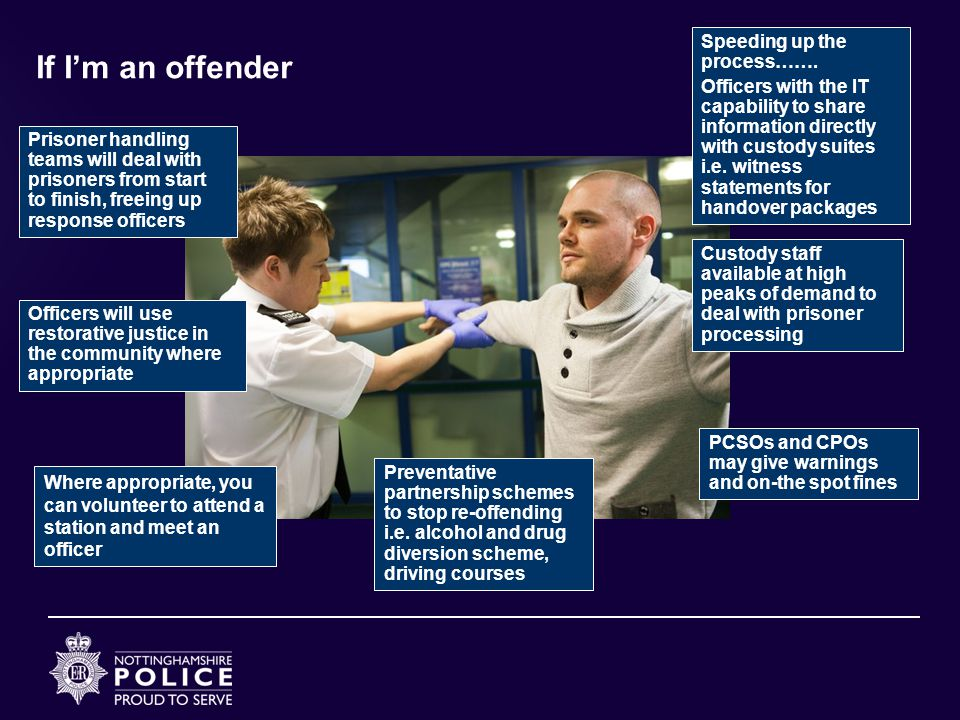If I'm an offender Where appropriate, you can volunteer to attend a station and meet an officer Officers will use restorative justice in the community where appropriate PCSOs and CPOs may give warnings and on-the spot fines Prisoner handling teams will deal with prisoners from start to finish, freeing up response officers Speeding up the process…….
