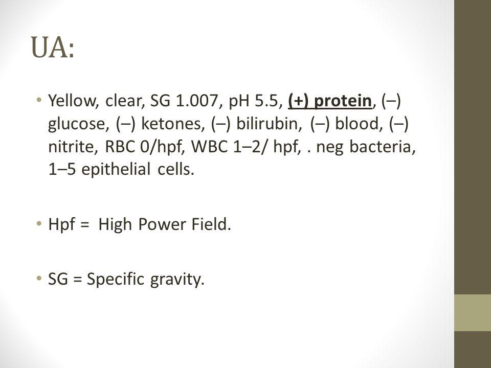 UA: Yellow, clear, SG 1.007, pH 5.5, (+) protein, (–) glucose, (–) ketones, (–) bilirubin, (–) blood, (–) nitrite, RBC 0/hpf, WBC 1–2/ hpf,. neg bacte