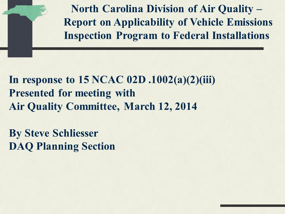 Topics Covered Defense Dept concern with 02D.1002(a)(2)(iii) and 40 CFR 51.356 1999 EPA Draft Guidance on CAA 118 Discussions with EPA Practices in other States Rule Change Impasse Rule Change Recommendation