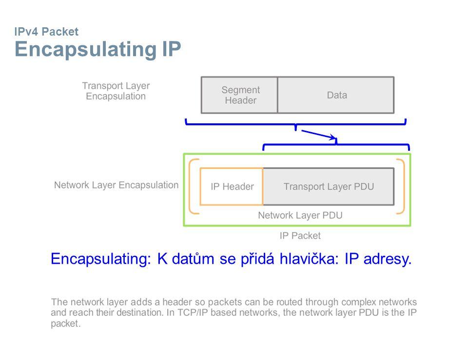IPv4 Packet Encapsulating IP Encapsulating: K datům se přidá hlavička: IP adresy.