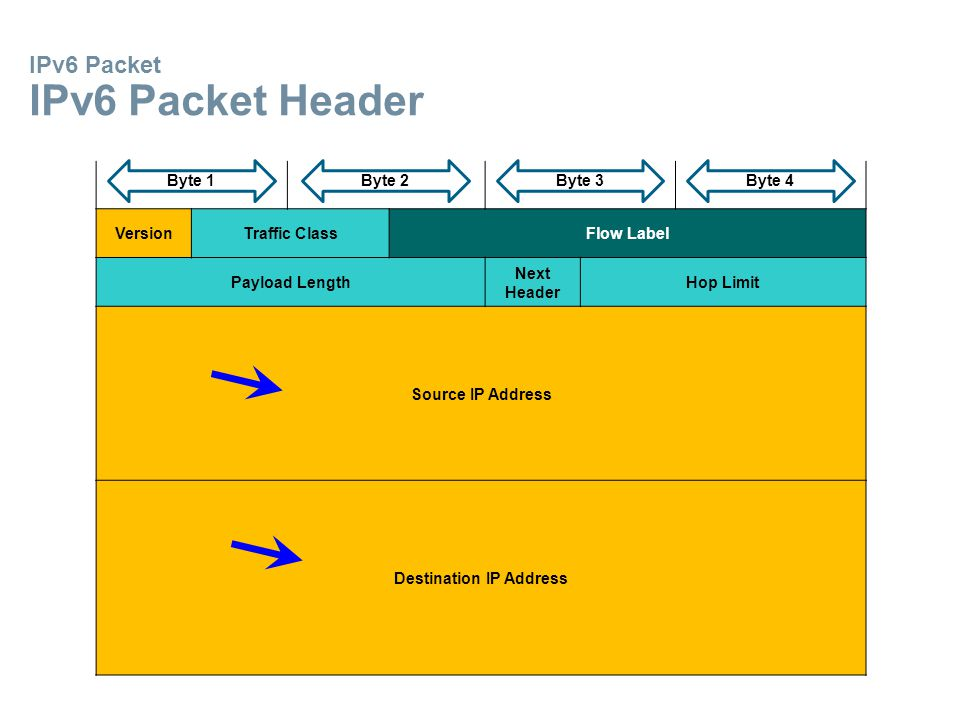 IPv6 Packet IPv6 Packet Header VersionTraffic ClassFlow Label Payload Length Next Header Hop Limit Source IP Address Destination IP Address Byte 1Byte 2Byte 3Byte 4