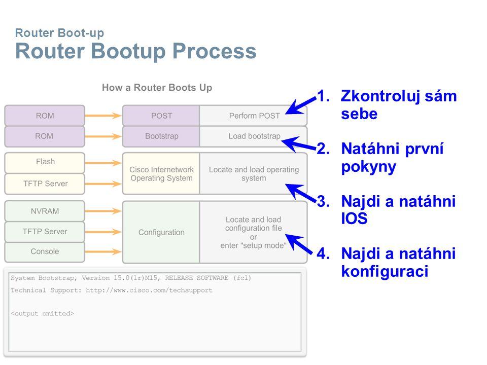 Router Boot-up Router Bootup Process 1.Zkontroluj sám sebe 2.Natáhni první pokyny 3.Najdi a natáhni IOS 4.Najdi a natáhni konfiguraci