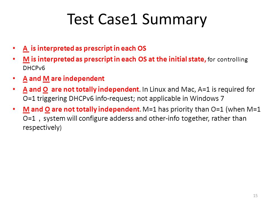 Test Case1 Summary A is interpreted as prescript in each OS M is interpreted as prescript in each OS at the initial state, for controlling DHCPv6 A and M are independent A and O are not totally independent.