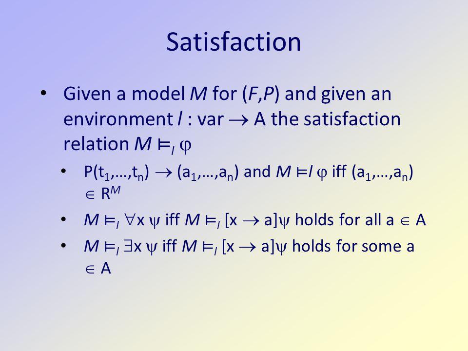 Example 2 alma M = a loves M = {(a,a),(b,a),(c,a)} loves M' = {(b,a),(c,b)} Does the model satisfy None of Alma's lovers' lovers love her  x  y (loves(x,alma)  loves(y,x)   loves(y,alma)