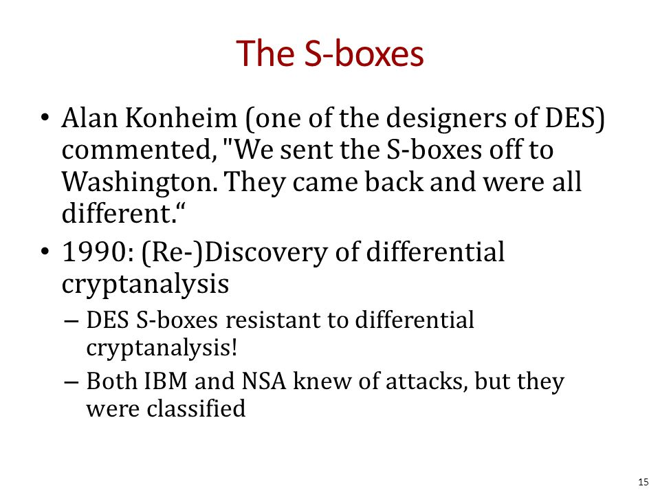 The S-boxes Alan Konheim (one of the designers of DES) commented,