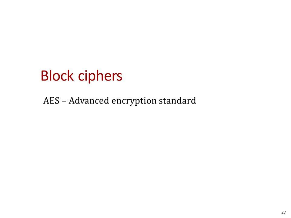 Block ciphers AES – Advanced encryption standard 27