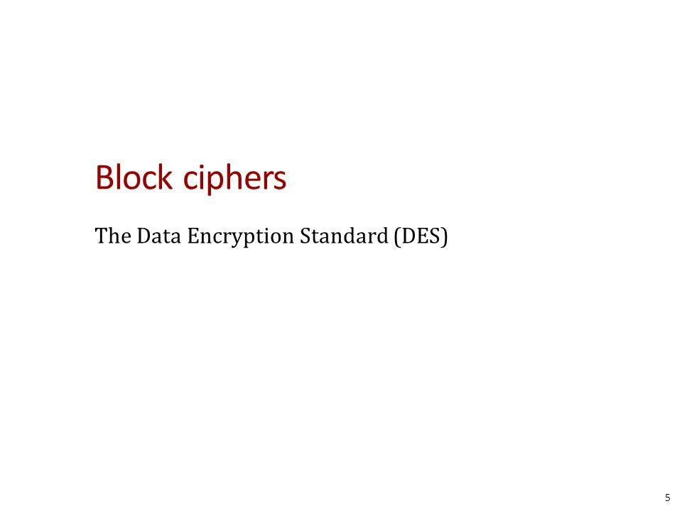 Block ciphers The Data Encryption Standard (DES) 5