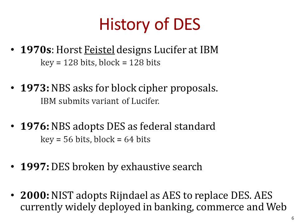 History of DES 1970s: Horst Feistel designs Lucifer at IBM key = 128 bits, block = 128 bits 1973: NBS asks for block cipher proposals. IBM submits var