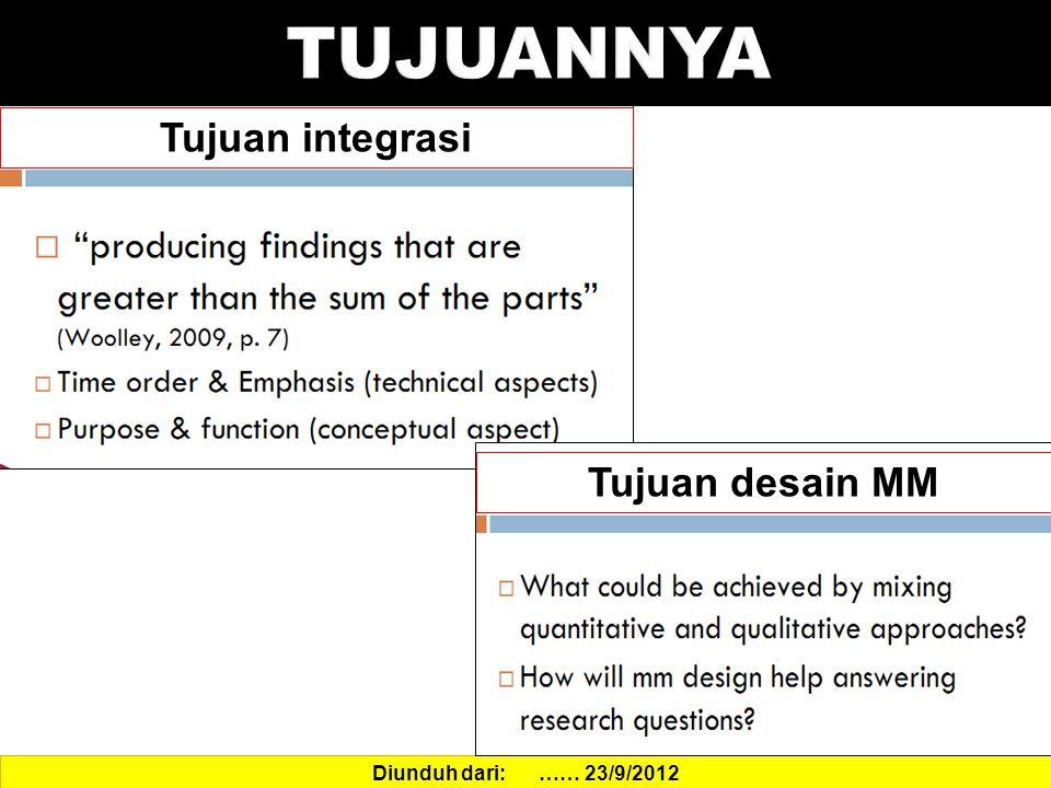 Diunduh dari: …… 23/9/2012 Tujuan integrasi Tujuan desain MM