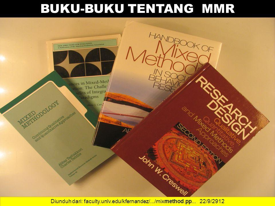 14 BUKU-BUKU TENTANG MMR Diunduh dari: faculty.unlv.edu/kfernandez/.../mixmethod.pp... 22/9/2912