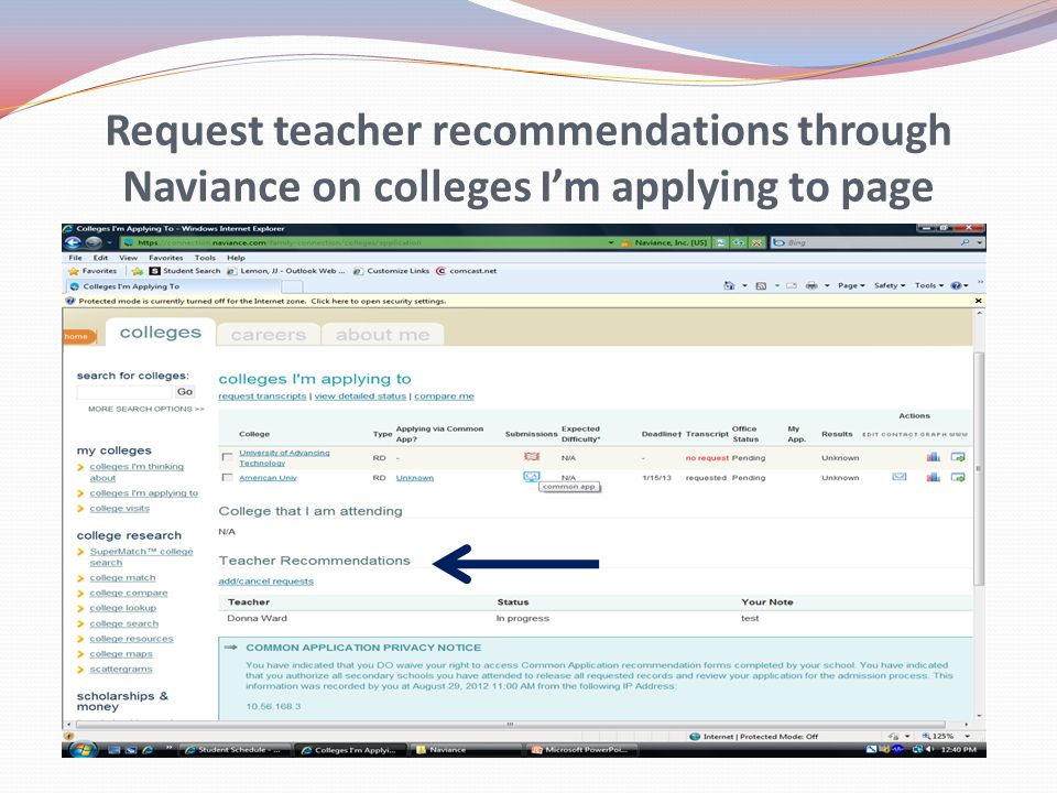Request teacher recommendations through Naviance on colleges I'm applying to page