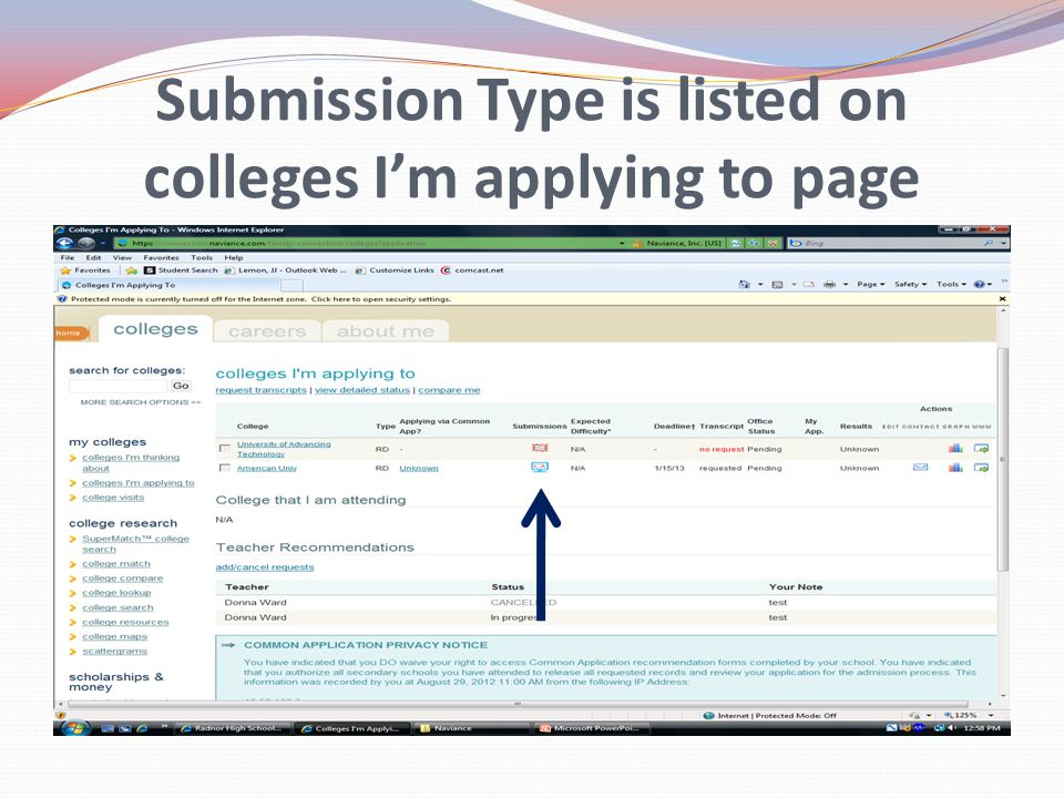 Submission Type is listed on colleges I'm applying to page
