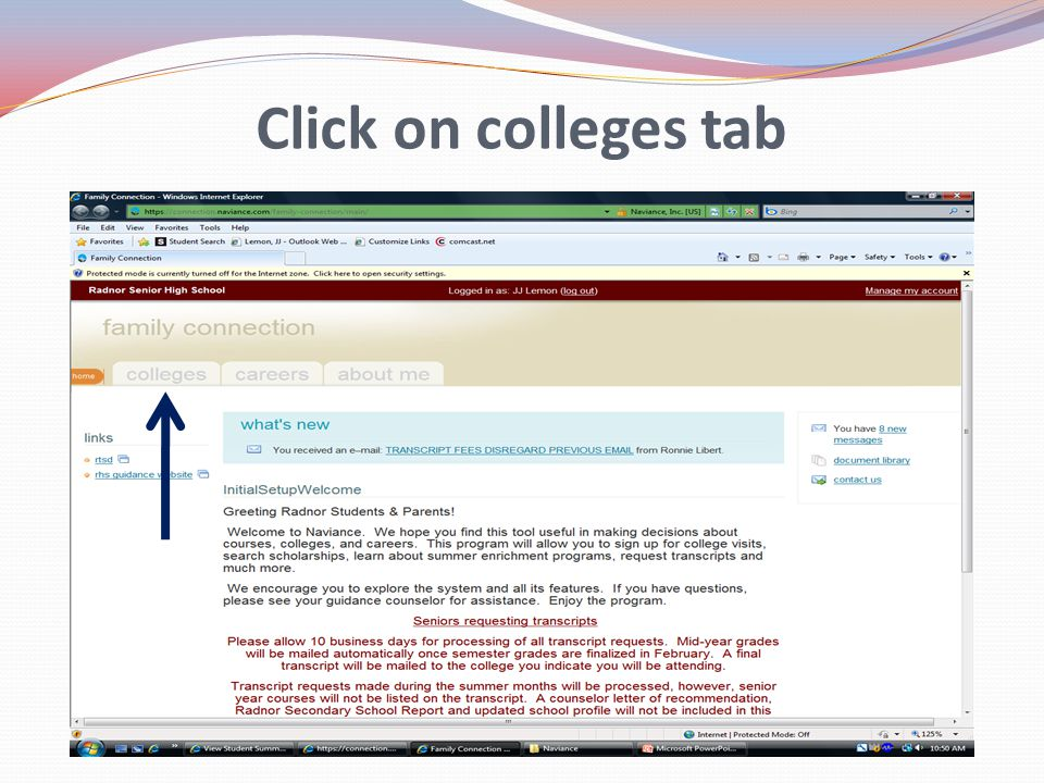 Click on colleges tab