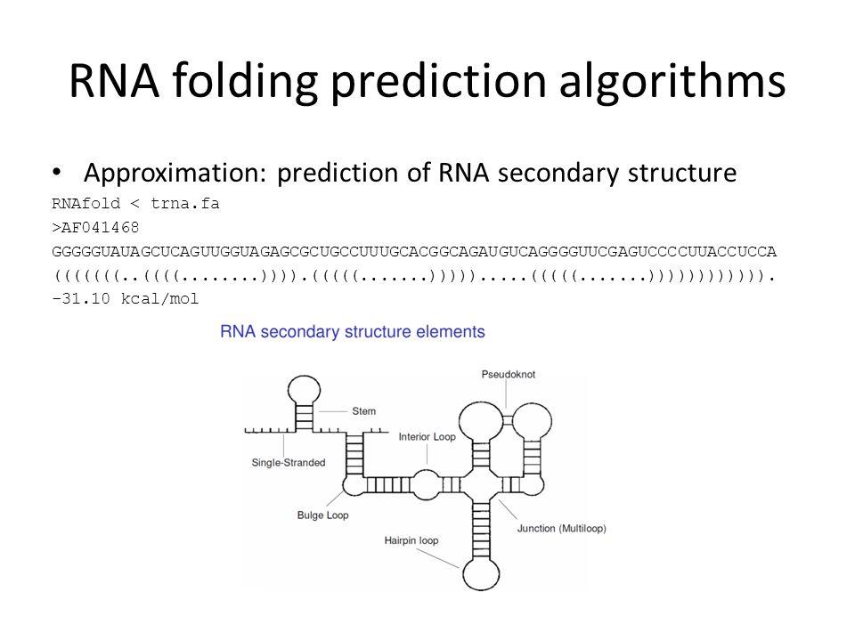 RNA folding prediction algorithms Approximation: prediction of RNA secondary structure RNAfold < trna.fa >AF041468 GGGGGUAUAGCUCAGUUGGUAGAGCGCUGCCUUUGCACGGCAGAUGUCAGGGGUUCGAGUCCCCUUACCUCCA (((((((..((((........)))).(((((.......))))).....(((((.......)))))))))))).
