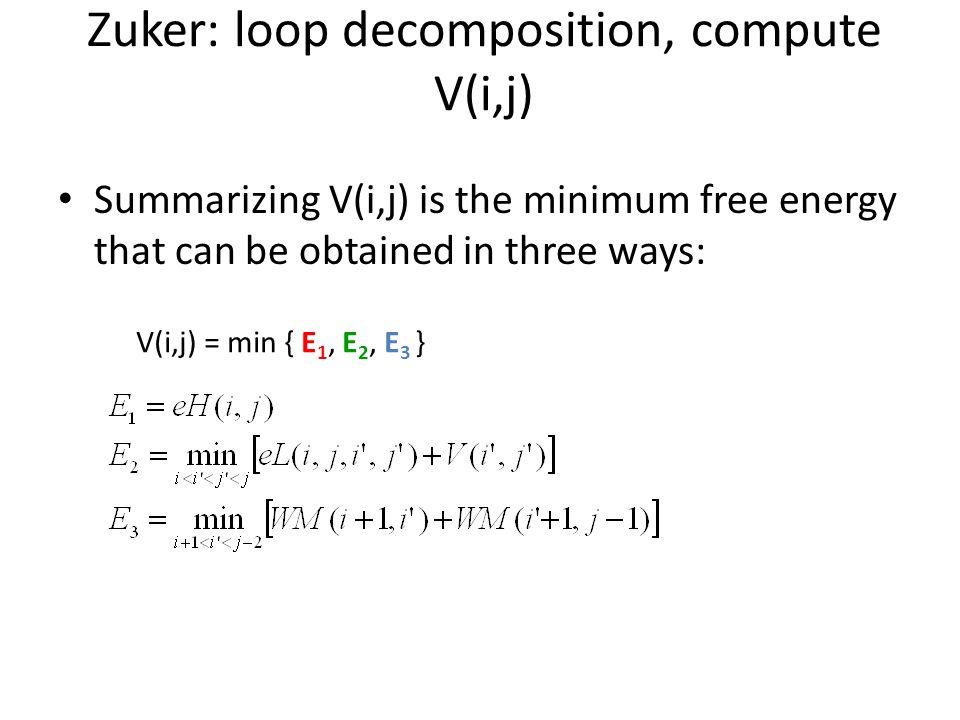 Summarizing V(i,j) is the minimum free energy that can be obtained in three ways: Zuker: loop decomposition, compute V(i,j) V(i,j) = min { E 1, E 2, E 3 }
