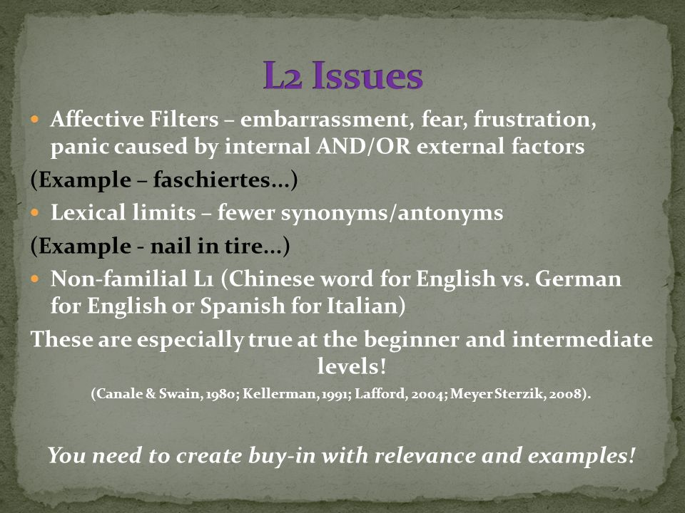 Affective Filters – embarrassment, fear, frustration, panic caused by internal AND/OR external factors (Example – faschiertes...) Lexical limits – fewer synonyms/antonyms (Example - nail in tire...) Non-familial L1 (Chinese word for English vs.