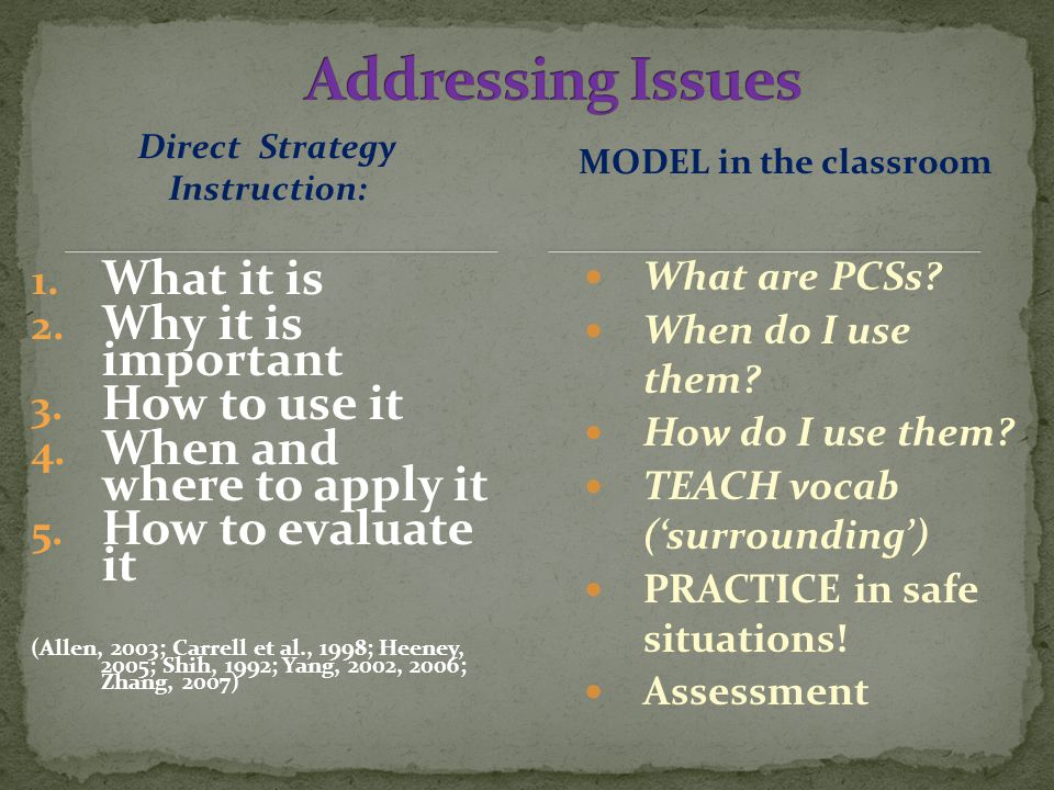 Direct Strategy Instruction: 1. What it is 2. Why it is important 3.