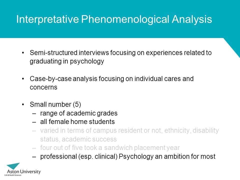 Interpretative Phenomenological Analysis Semi-structured interviews focusing on experiences related to graduating in psychology Case-by-case analysis