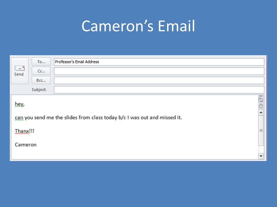 Cameron's Email