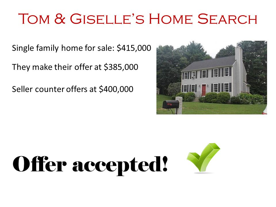 Tom & Giselle's Home Search They make their offer at $385,000 Seller counter offers at $400,000 Offer accepted! Single family home for sale: $415,000