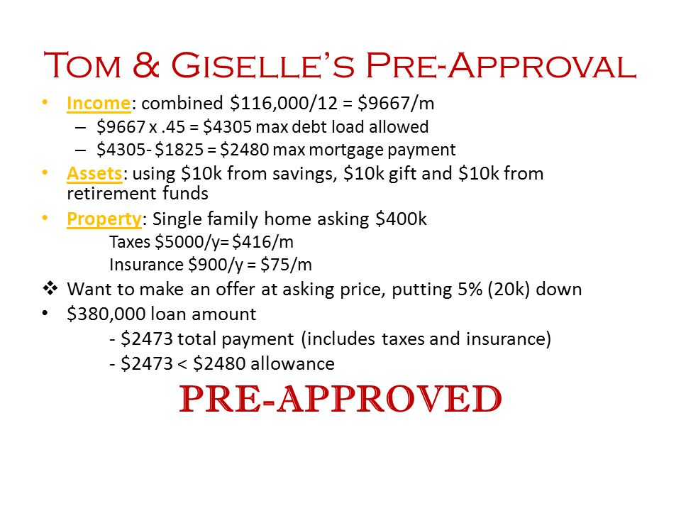 Tom & Giselle's Pre-Approval Income: combined $116,000/12 = $9667/m – $9667 x.45 = $4305 max debt load allowed – $4305- $1825 = $2480 max mortgage pay