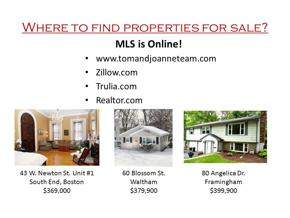 Where to find properties for sale. MLS is Online.