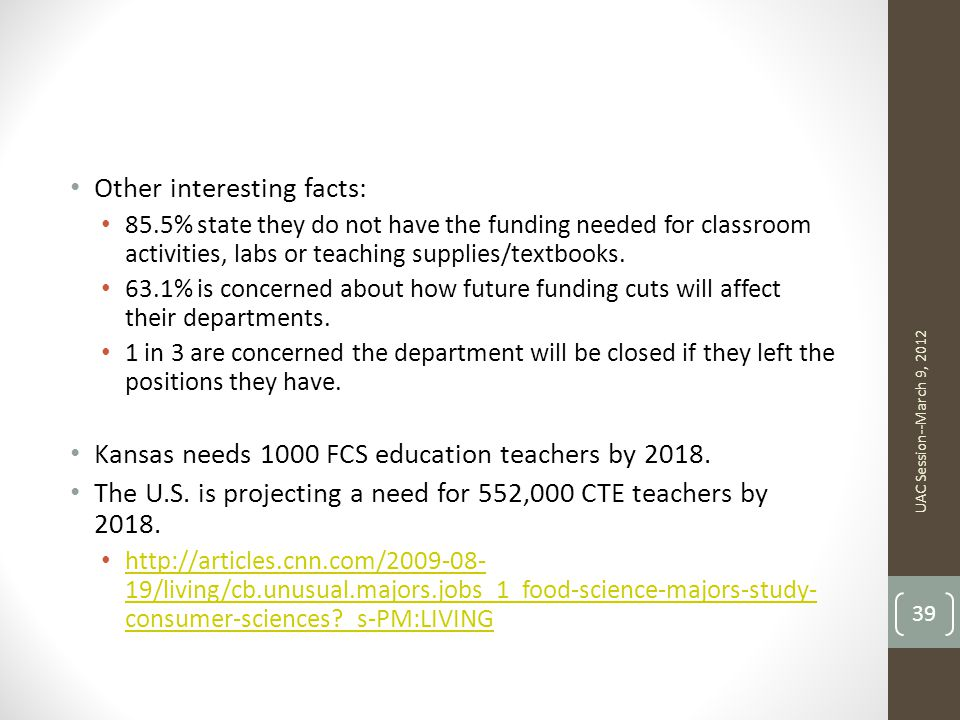 Other interesting facts: 85.5% state they do not have the funding needed for classroom activities, labs or teaching supplies/textbooks.