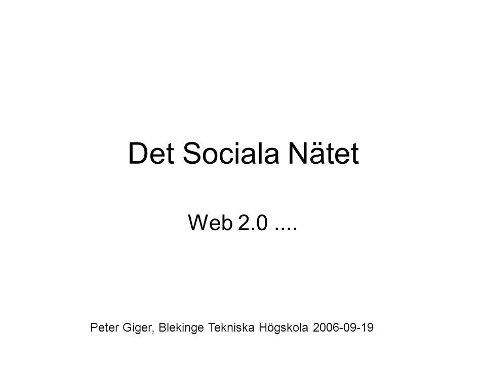 Det Sociala Nätet Web 2.0.... Peter Giger, Blekinge Tekniska Högskola 2006-09-19