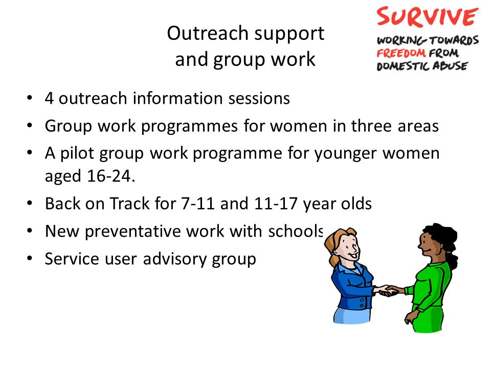 Outreach support and group work 4 outreach information sessions Group work programmes for women in three areas A pilot group work programme for younge