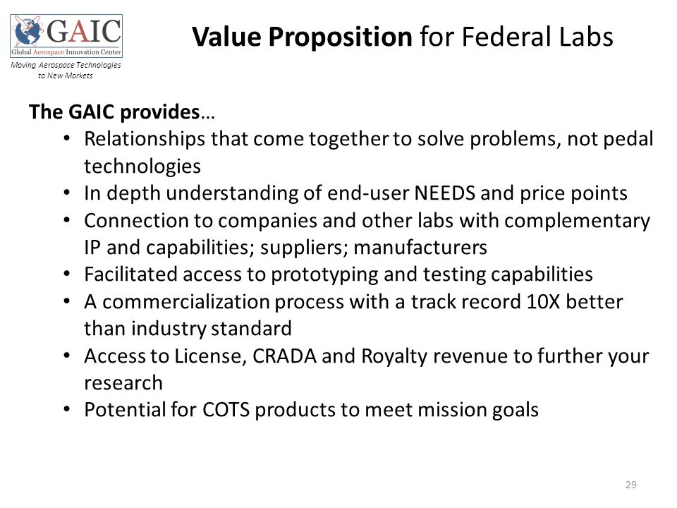 Value Proposition for Federal Labs Moving Aerospace Technologies to New Markets 29 The GAIC provides… Relationships that come together to solve proble