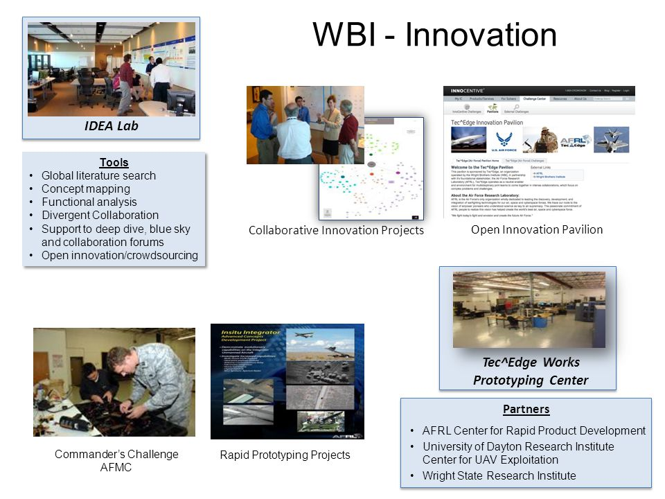 IDEA Lab WBI - Innovation Tools Global literature search Concept mapping Functional analysis Divergent Collaboration Support to deep dive, blue sky and collaboration forums Open innovation/crowdsourcing Tools Global literature search Concept mapping Functional analysis Divergent Collaboration Support to deep dive, blue sky and collaboration forums Open innovation/crowdsourcing Collaborative Innovation Projects Tec^Edge Works Prototyping Center AFRL Center for Rapid Product Development University of Dayton Research Institute Center for UAV Exploitation Wright State Research Institute Partners Rapid Prototyping Projects Commander's Challenge AFMC Open Innovation Pavilion