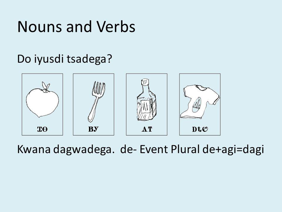 Nouns and Verbs Do iyusdi tsadega Kwana dagwadega. de- Event Plural de+agi=dagi