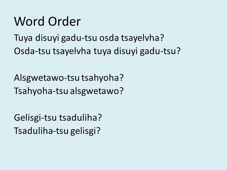 Word Order Tuya disuyi gadu-tsu osda tsayelvha. Osda-tsu tsayelvha tuya disuyi gadu-tsu.