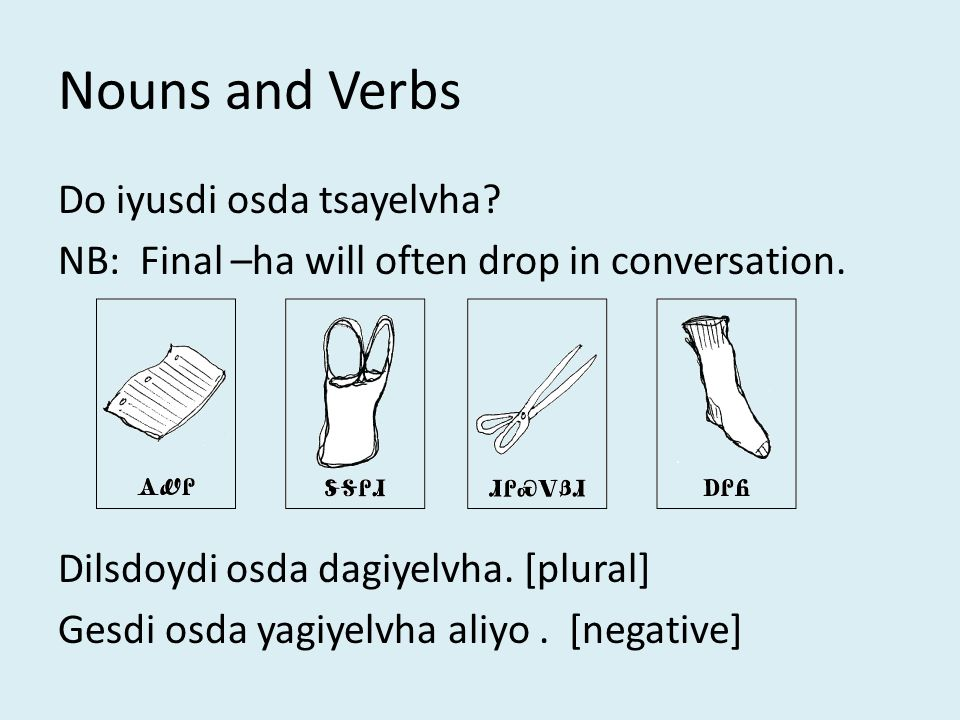Nouns and Verbs Do iyusdi osda tsayelvha. NB: Final –ha will often drop in conversation.