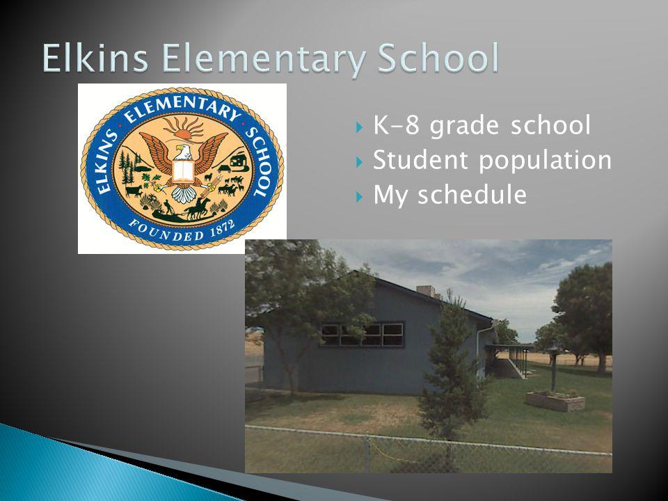  K-8 grade school  Student population  My schedule
