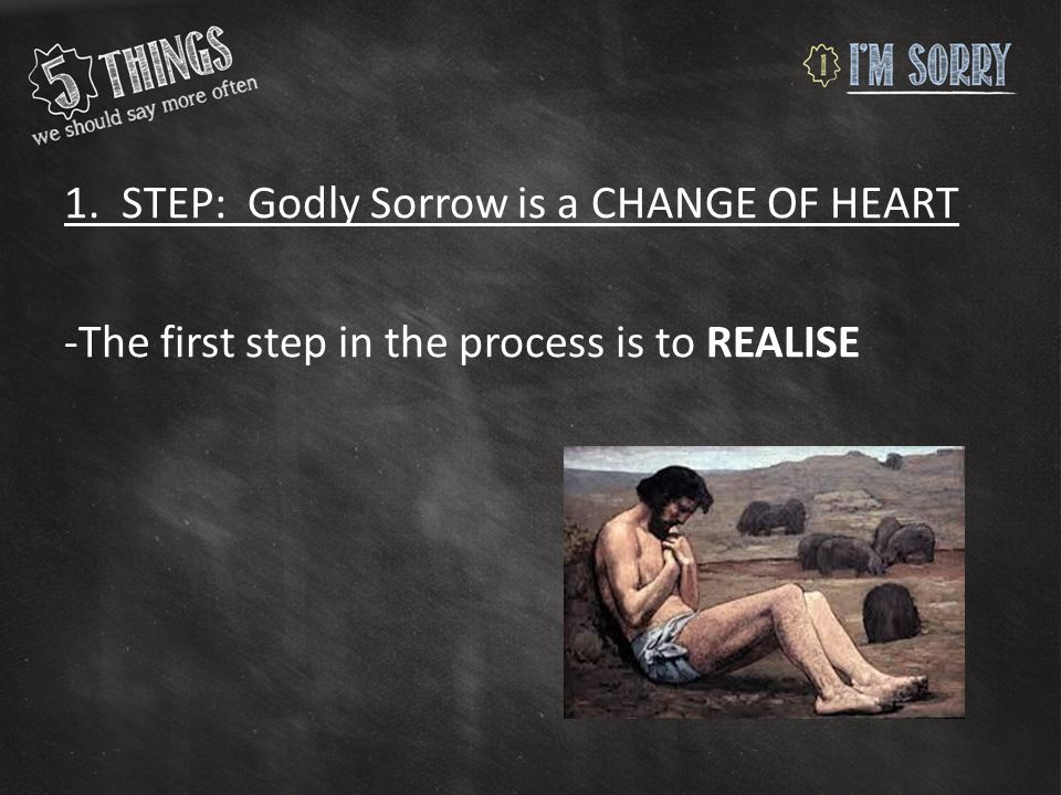 1. STEP: Godly Sorrow is a CHANGE OF HEART -The first step in the process is to REALISE