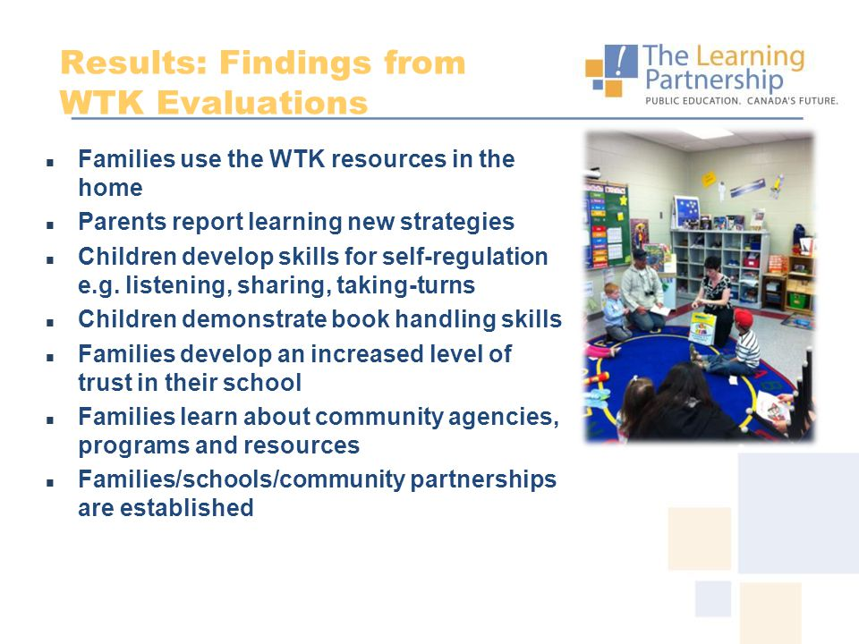 Results: Findings from WTK Evaluations Families use the WTK resources in the home Parents report learning new strategies Children develop skills for s