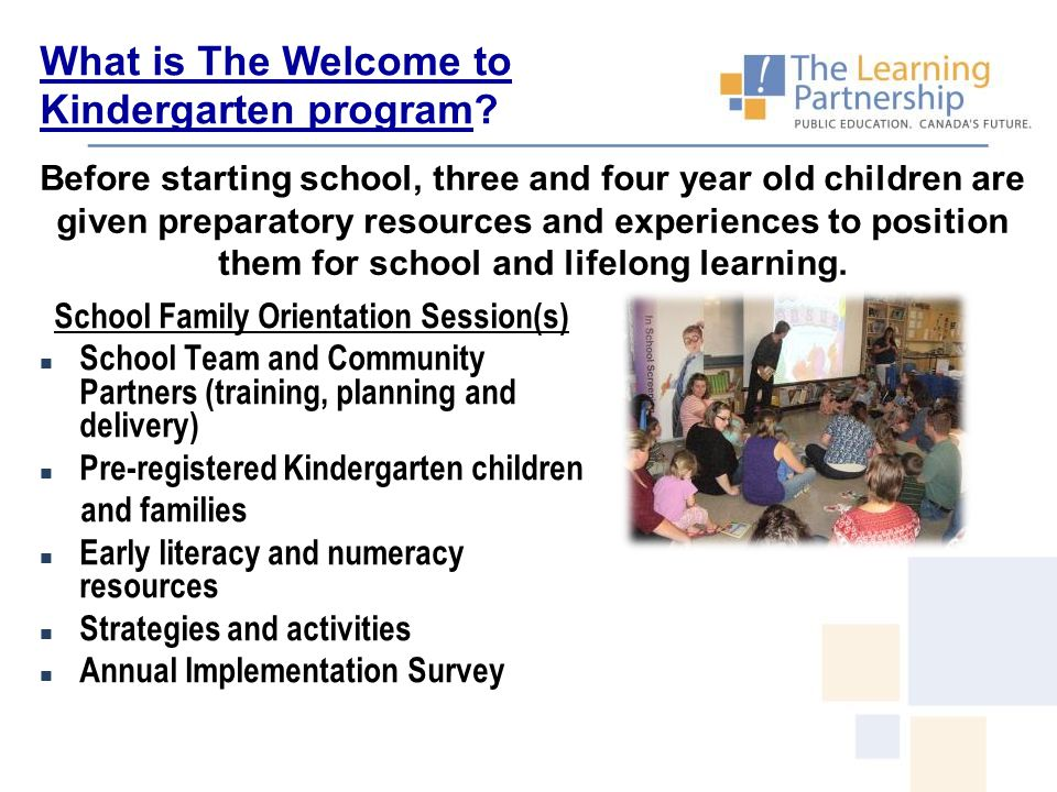 Before starting school, three and four year old children are given preparatory resources and experiences to position them for school and lifelong lear