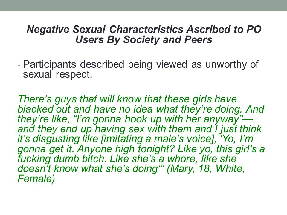 Negative Sexual Characteristics Ascribed to PO Users By Society and Peers - Participants described being viewed as unworthy of sexual respect.