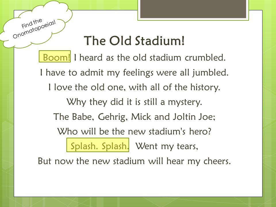 The Old Stadium! Boom! I heard as the old stadium crumbled. I have to admit my feelings were all jumbled. I love the old one, with all of the history.