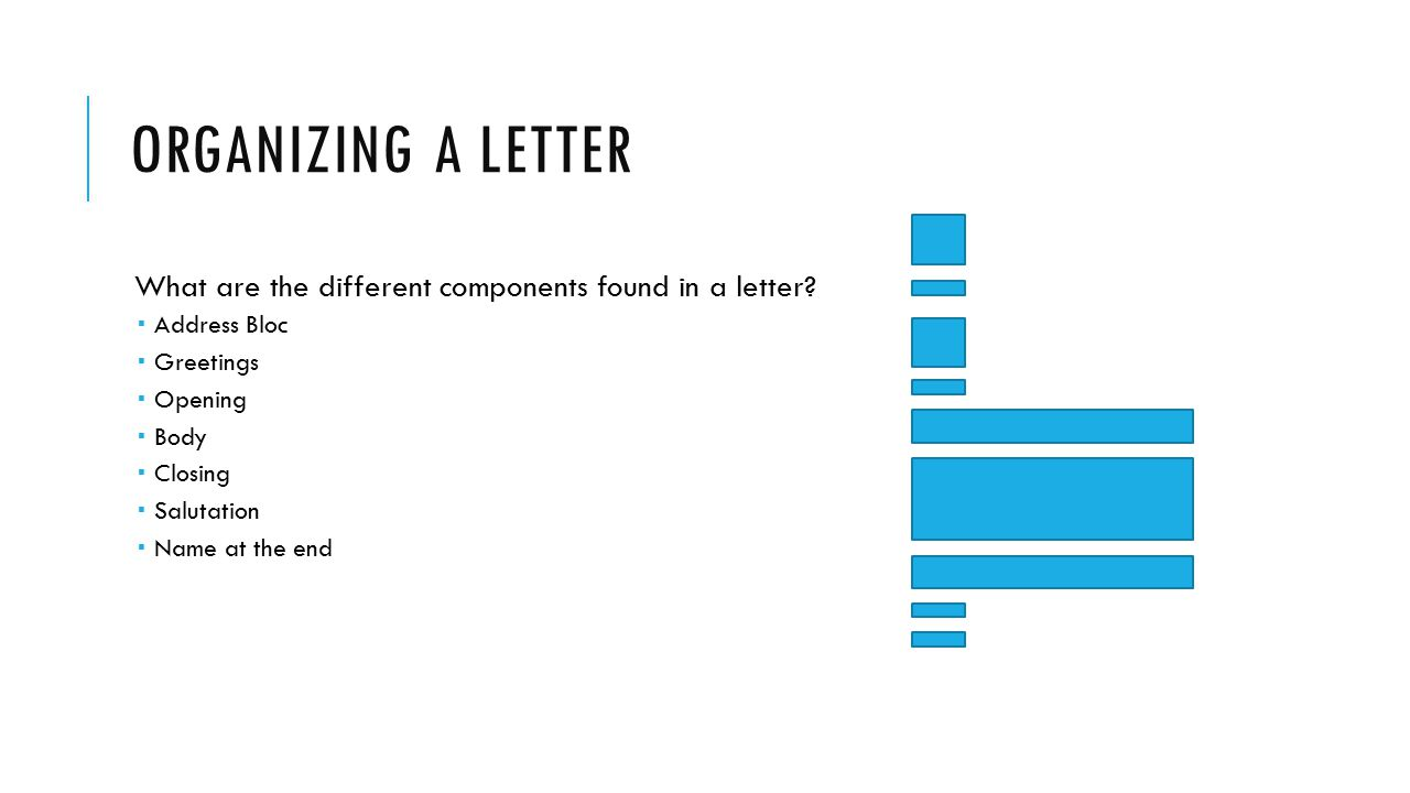ORGANIZING A LETTER What are the different components found in a letter?  Address Bloc  Greetings  Opening  Body  Closing  Salutation  Name at