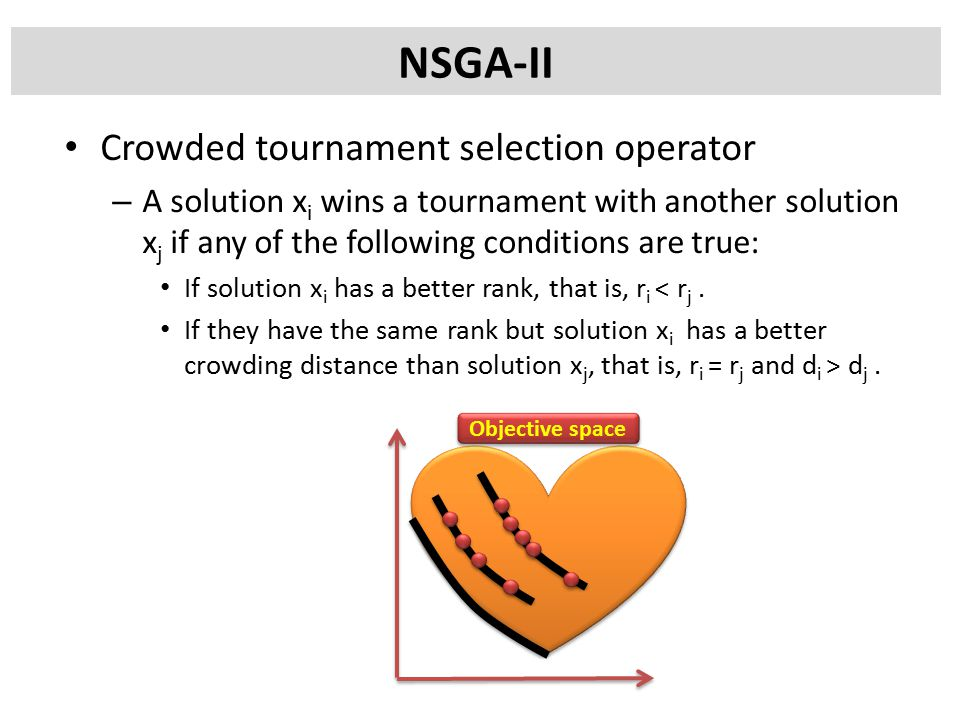Crowded tournament selection operator – A solution x i wins a tournament with another solution x j if any of the following conditions are true: If solution x i has a better rank, that is, r i < r j.