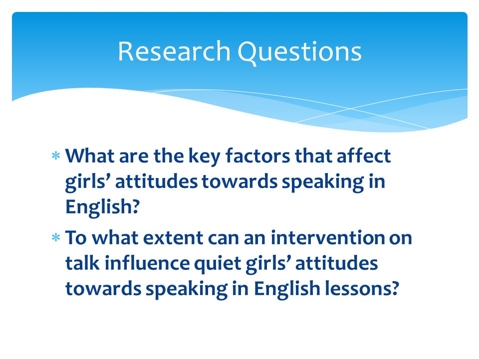  What are the key factors that affect girls' attitudes towards speaking in English.